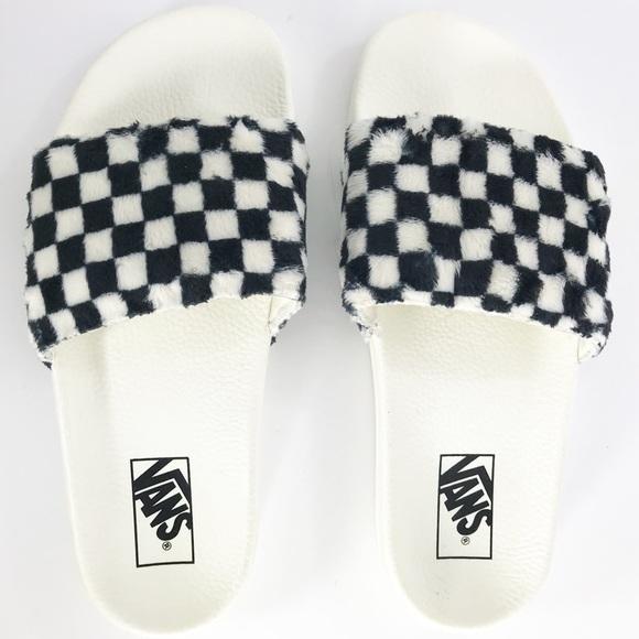 4beb0a88289 Vans Sherpa Checkerboard Slides
